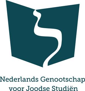 Logo van het Nederlands Genootschap voor Joodse Studiën: een donkerblauwe boekvorm met een witte letter lamed en de tekst 'Nederlands Genootschap voor Joodse Studiën'